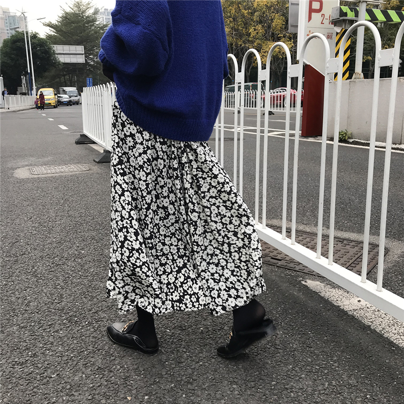 Vintage Floral Black Daisy Pleated Chiffon Long Skirts Summer Women Korean Skirt Streetwear Drawstring Elastic Waist Midi Skirt