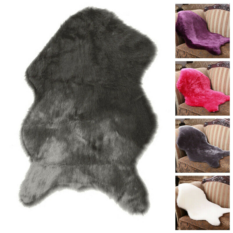 UK Faux Wool Sheepskin Rug Chair Cover Fur Plush Warm Carpet Seat Pad Plain Skin