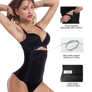 Image 2 - Latex Waist Trainer Corset 9 Steel Bone Shapewear Body Shapers Women Corset Slimming Belt Waist Shaper Cinta Modeladora FreeGift