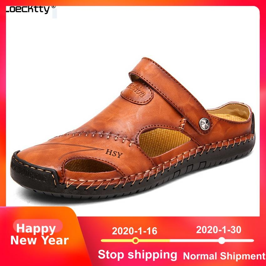 Men Beach Sandals Water Shoes Casual Outdoor Closed Toe Leather Shoes Fashion