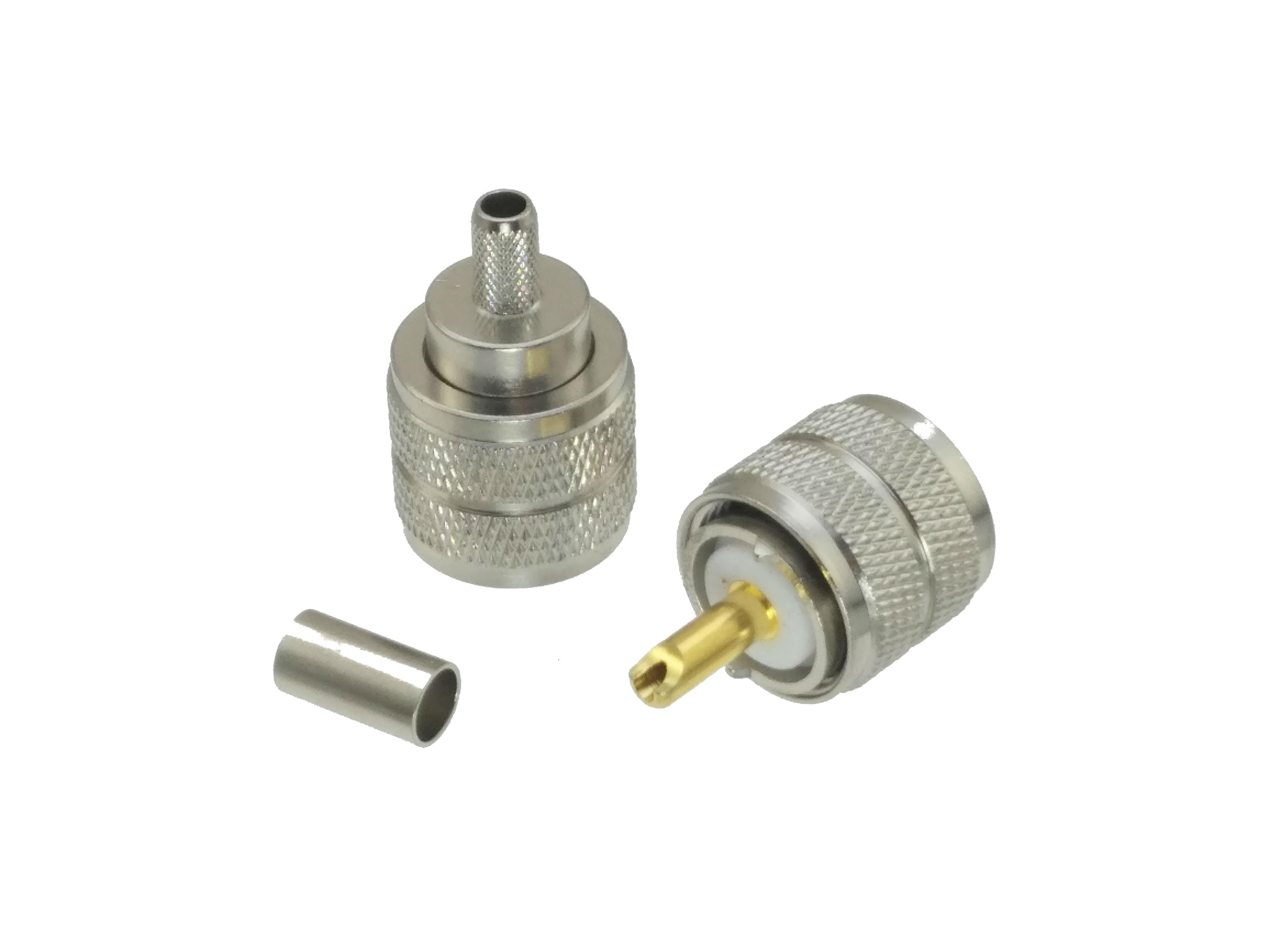 Connector UHF Male PL259 Plug Crimp RG58 RG142 LMR195 RG400 Cable Straight