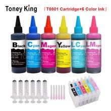 Toney king cartuchos de tinta para impressora, 600ml, tinta de garrafa de 6 cores, t0801, cartuchos recarregáveis para epson stylus photo p50 t59 r265 270 285 290