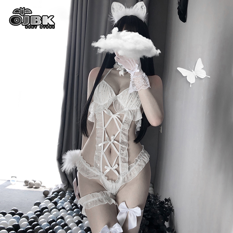 OJBK Women Sexy Lingerie White Lace Cat Cosplay Bustier Sleepwear Tops Brocade Thigh-Highs Erotic See Through Costumes Dropship