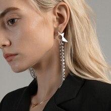 Timeless Wonder Stunning Star Zirconia Tassel Stud Earrings Fancy Jewelry Christmas Gifts for Women Gothic Boho Trendy Ins 1511