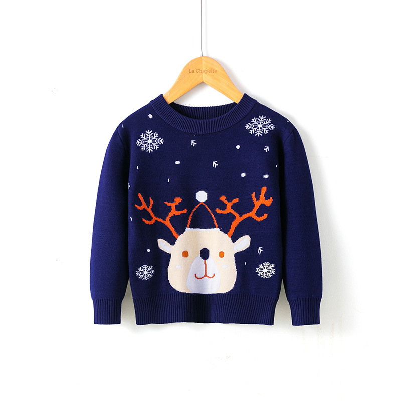 2021 Winter Boys Girls Sweater Christmas Costume Autumn Children Clothing Knitwear Boy Pullover Knitted Sweater Kids Sweaters 4