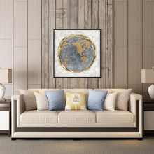 Nordic Abstract Golden Fluid Solar System Planet Canvas Painting Earth Moon Wall Artwork Print And Poster For Living Room Decor