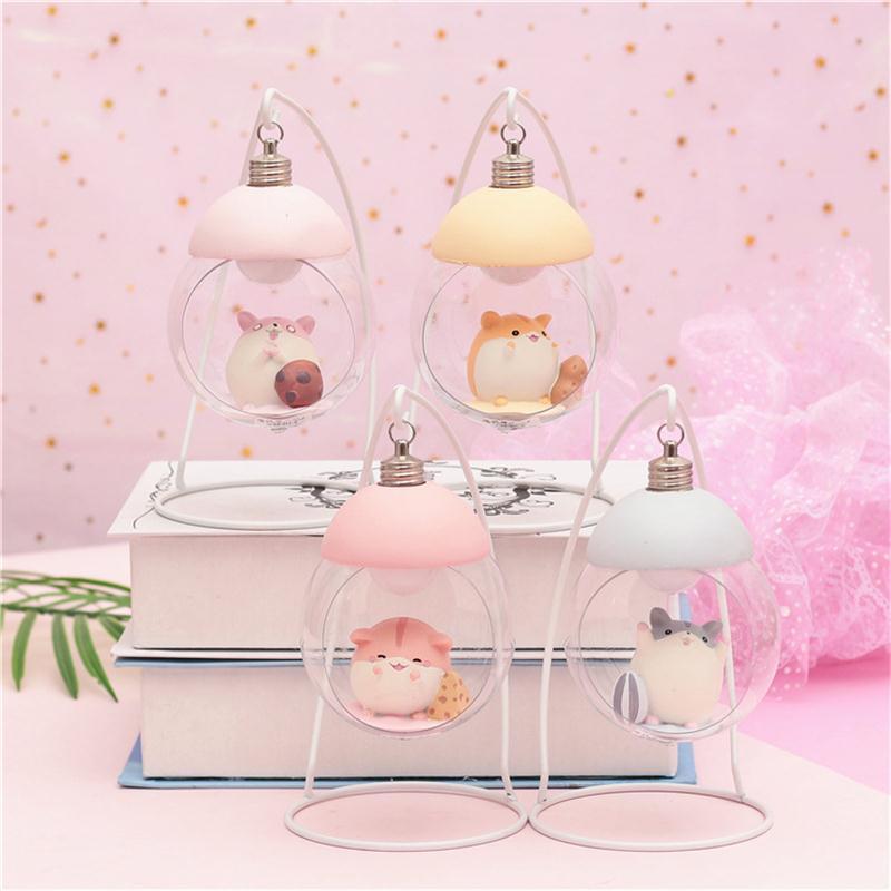 Resin Hamster LED Novetly Lamp Cartoon Animal Bedside Night Light Bedroom Decorative Lights Toy Christmas Birthday Gift For Chil