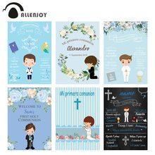 Allenjoy Background For Photography Studio Blue Flower Boy My First Holy Communion Reception Bible Backdrop Photophone Photocall
