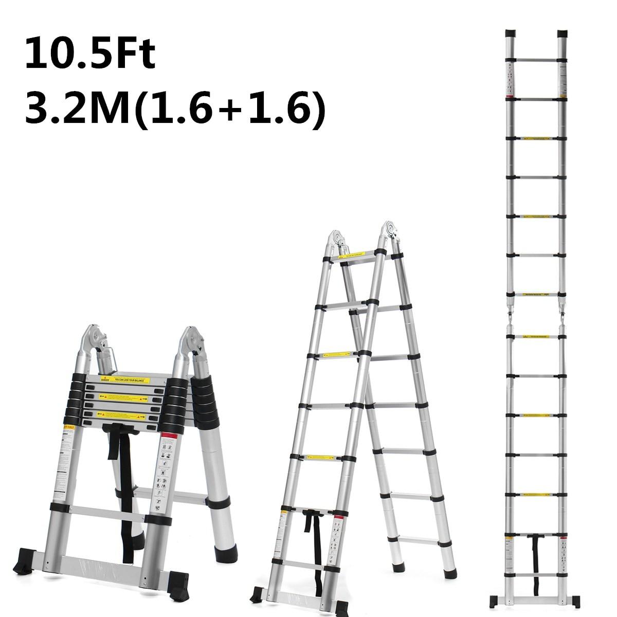 3.2m 10.5Ft Aluminium Telescopic Ladders Folding Ladder Dual-Use Herringbone Ladder Multifunctional Single Extension Tools