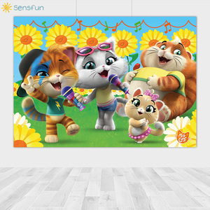 Image 3 - Sensfun Cartoon 44 Cats Backdrop Sunflower Music Children Birthday Theme Party Photography Background Photo Booth Props Studio
