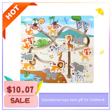 Montessori Wooden Sliding Puzzle Maze educational toys For Children Forest Maze Early Learning Intelligence Kids Toys puzzle diy montessori toys educational wooden toys for children early learning magnetic maze labyrinth animal shape game toys