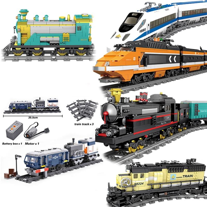 Высокотехнологичные строительные блоки KAZI City, поезд с функцией мощности, игрушки MOC tech, совместимы со всеми брендами игрушек для детей, пода...