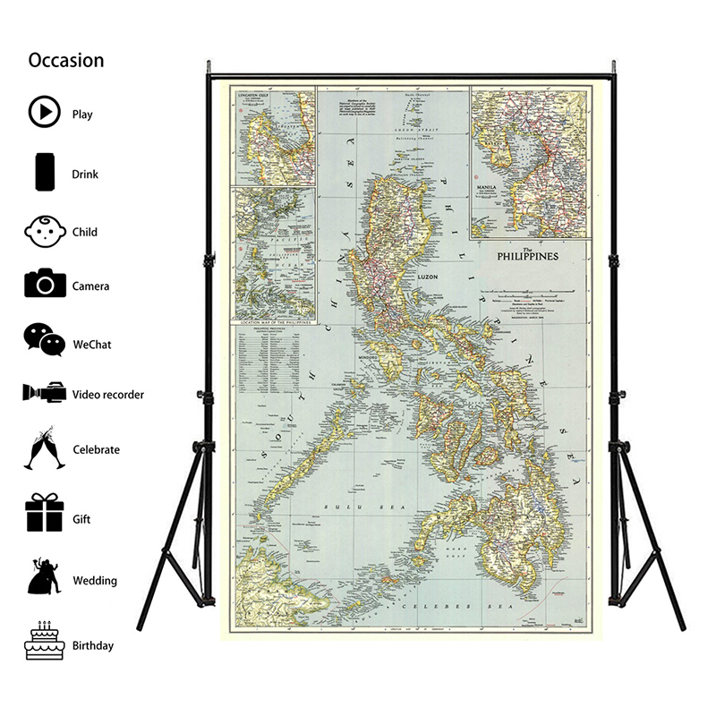 A2 Philippines(1945) World Map Home Decoration Antique Poster Wall Chart Retro Paper Matte Kraft Paper Map Of World No Frame