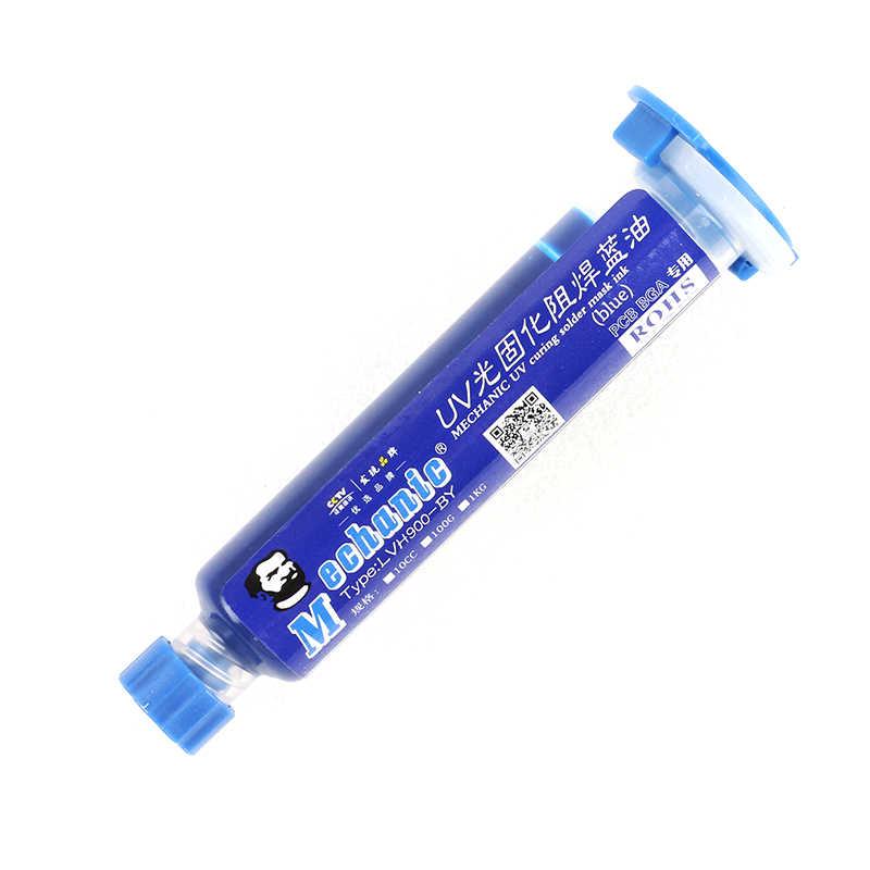 10CC bleu UV Curable masque de soudure PCB isolé prévenir court-circuit pâte à souder Flux crème Flux de soudage huile + aiguille