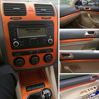 Car Styling 3D/5D Carbon Fiber Car Interior Center Console Color Change Molding Sticker Decals For Volkswagen VW Golf 5 GTI MK5