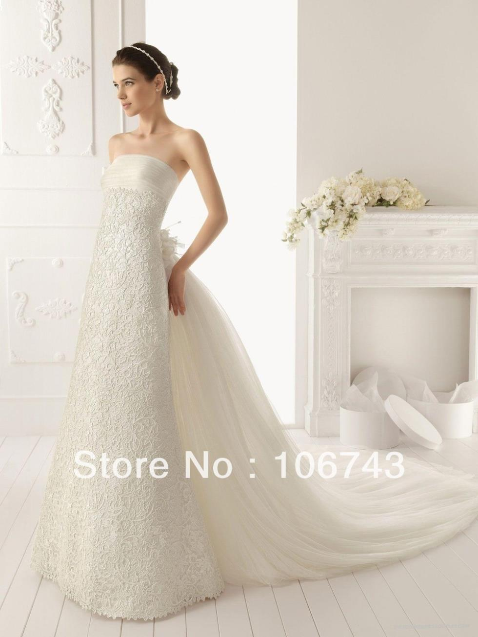 Wedding Dresses China Free Shipping 2016 Tulle Strapless Style With Lavish Designer Gown White/lvory Lace Wedding Dresses