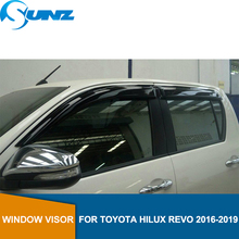 Side Window Deflectors Of Accessories Window Guard For Toyota Hilux Revo Rocco 2015 2016 2017 2018 2019 Double Cab  SUNZ black curved end side step nerf bar for 2005 2017 toyota tacoma double cab 3 running boards car pedals accessories auto parts