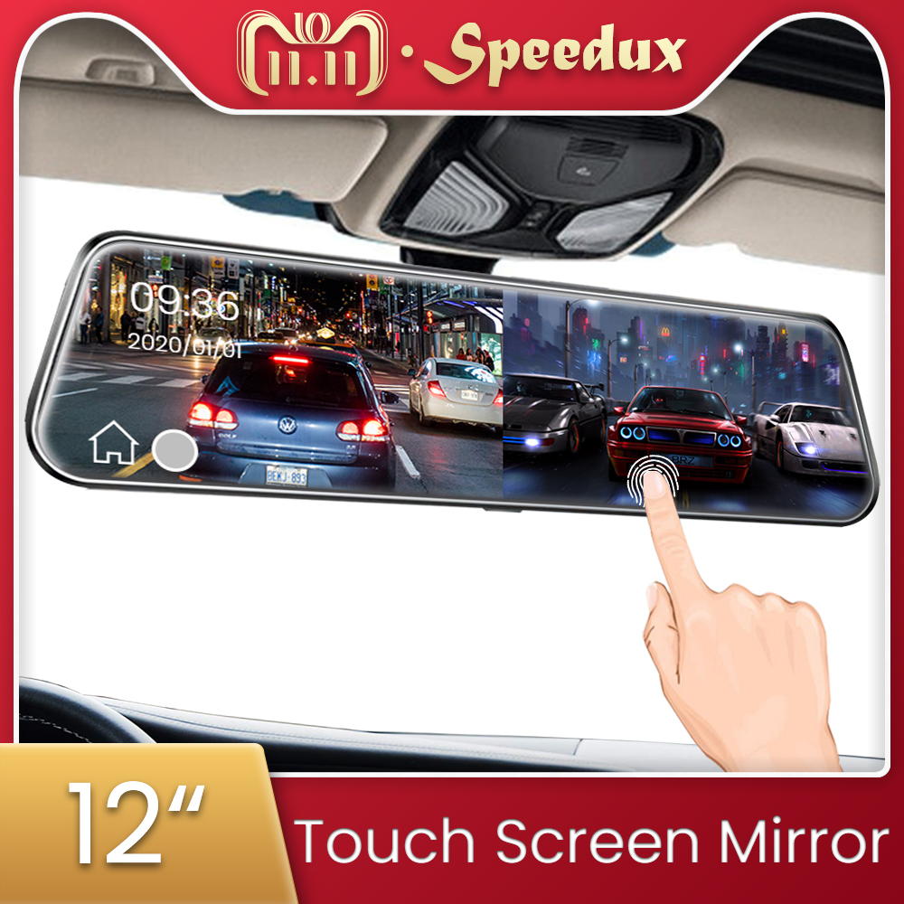 12 Inch Car DVR 1440P Stream Media Dash Cam Touch Screen Dash Camera Dual Lens Video Recorder Rearview Mirror 2K Backup Camera title=