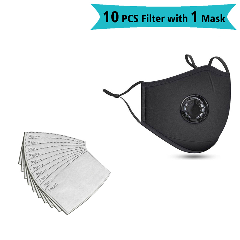 10 PCS Filter Fashion Washable Reusable Mask Anti Pollution PM2.5 Mouth Respirator Dust Masks Cotton Unisex Mouth Muffle Black
