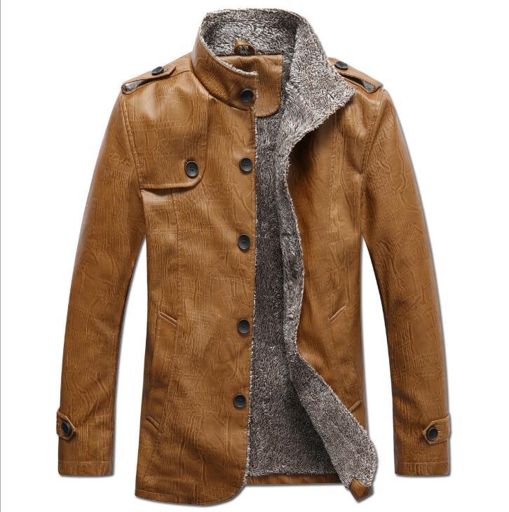 NEW Fashion Men Winter Tops Long Sleeve Fur Belt Faux Leather Jacket Highneck Shearling Coat Wool Lining Bomber Jacket Men DB028