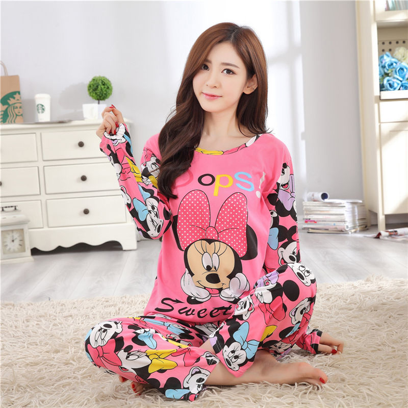 Teenager Girls Pajamas Sets Spring Autumn Thin Carton Generation Long Sleepwear Suit Home Female Sleepwear Women's Home Clothes