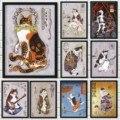Японских самураев, пластичный монтаж, тату кот плакат декоративно-прикладного искусства аниме Рисунок, ручной стержень, для кафе, для дома с...