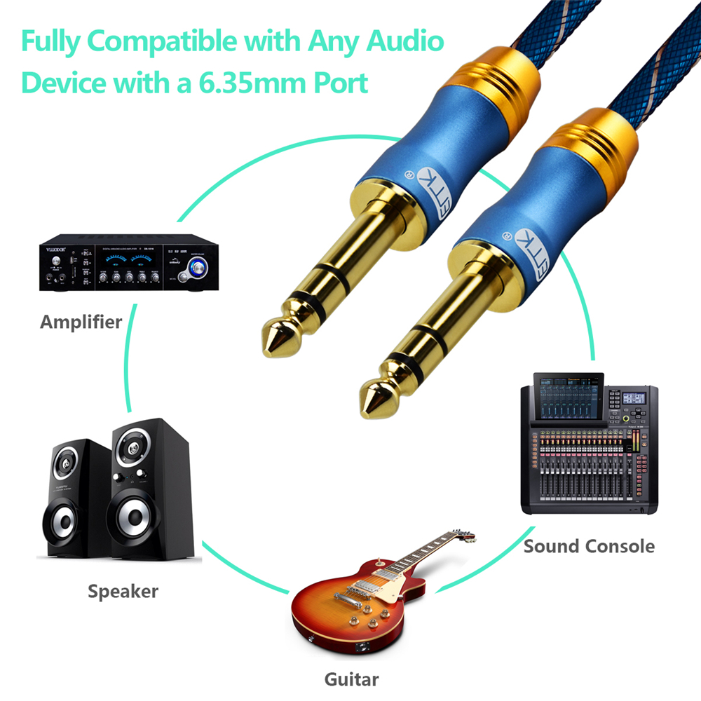 6 35mm 1 4 quot Male to Male TRS Stereo Audio Cable with Metal Housing and Nylon Braid for iPod Laptop Home Theater Device