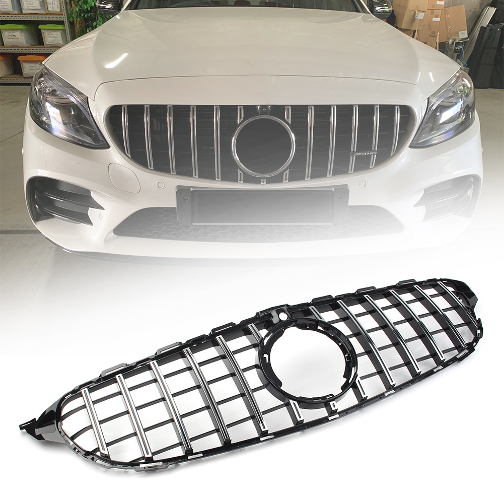 Car Front Grill Upper AMG GT R Style Front Grille For Mercedes-Benz C Class W205 C200 C300 2019 2019+ W/ Camera Model only image