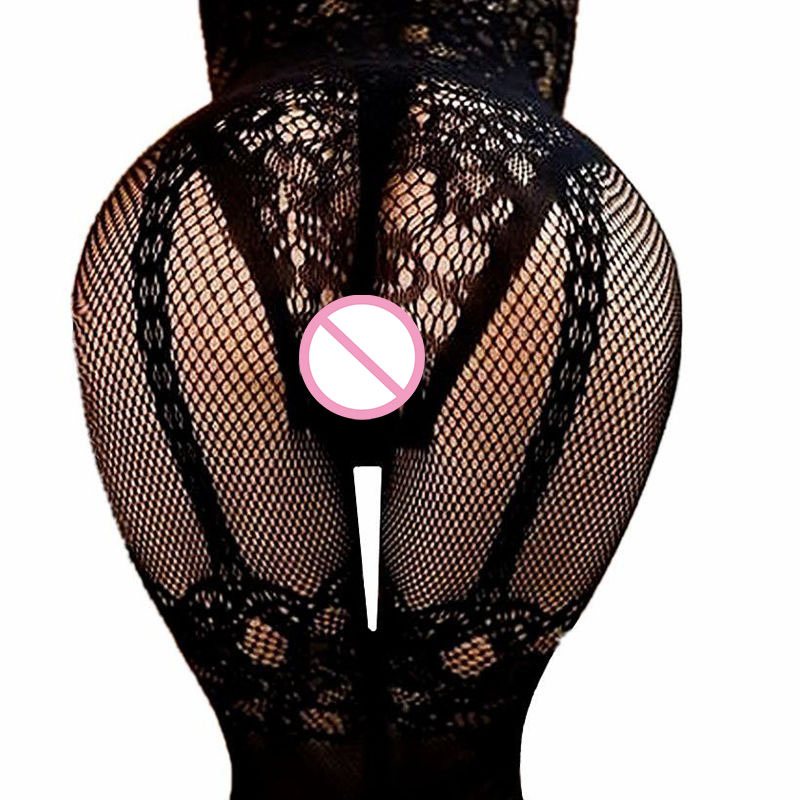 Women Sexy Lingerie Open Crotch Stockings Crotchless Fishnet Sheer Body Dress Lingerie Tights Nightwear Lace  Sex Games -10