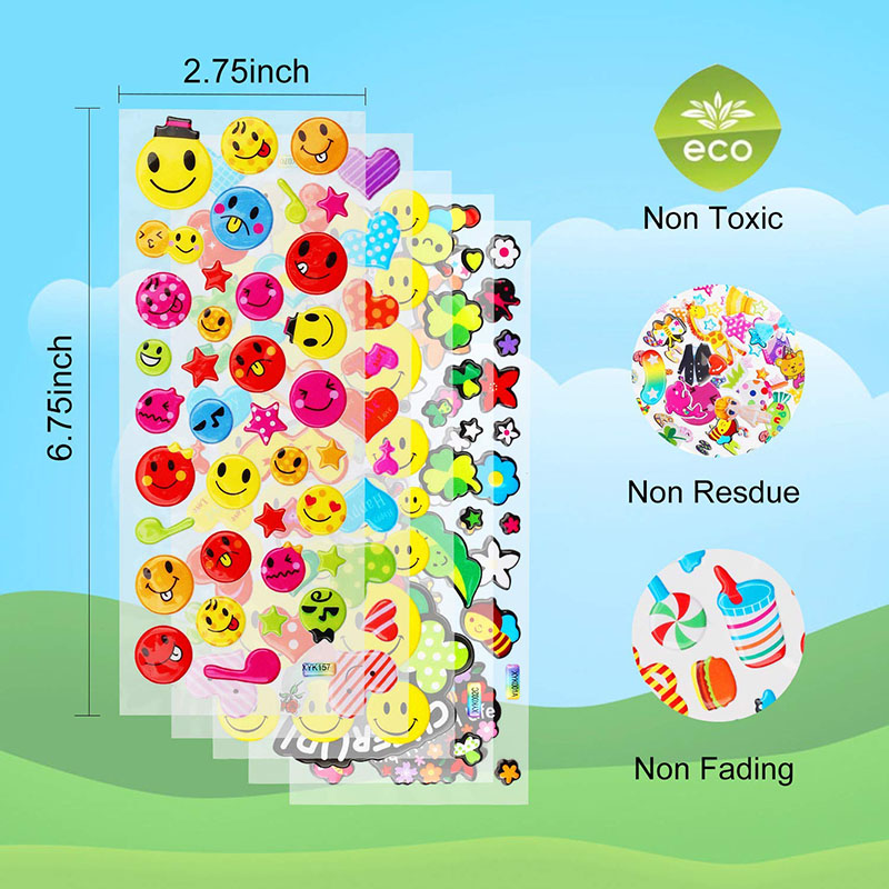 30 Sheets Stickers for Kids Girls Boys Different Bulk Stickers 3D Puffy Assorted Scrapbook 20 Stickers Cartoon Princess DIY Toys 4