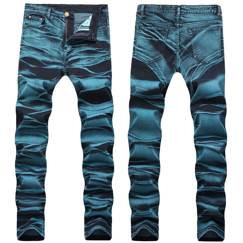 Pantalones De Mezclilla Pintados De Talla Grande A La Moda Con Corbata Y Tinte De Colores Para Hombre Pantalones Vaqueros Aliexpress