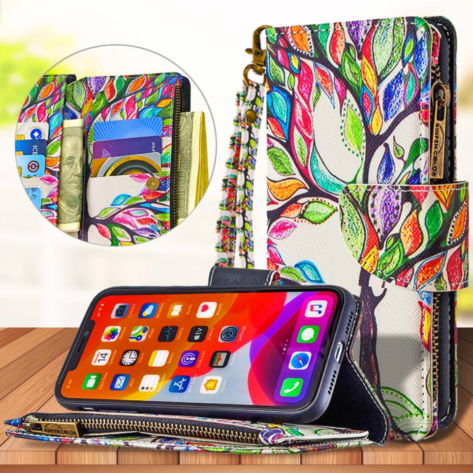 For Apple iPhone Se 2020 11 Pro XS Max XR X 8 7 6 6s Plus Painted Pattern Leather Case Zipper Bag Wallet Card Holder Phone Cover