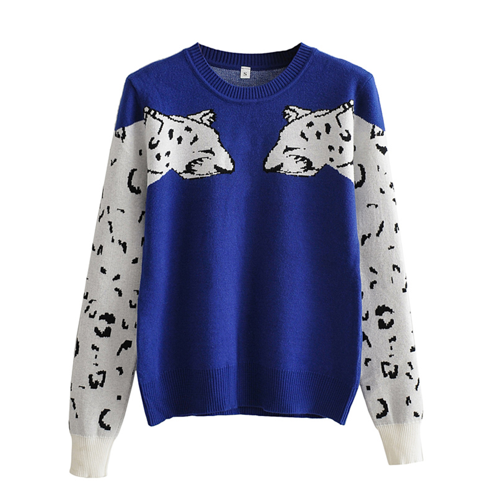 Women's Casual Long-sleeved Sweater Autumn Personality Leopard Pattern Round Neck Pullover Knitwear
