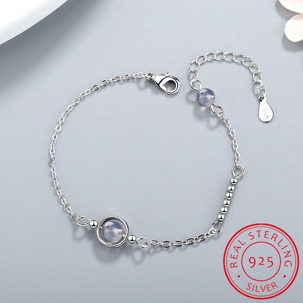 Handmade Moonstone Bracelet Circle Charm With Natural Crystal 925 Sterling Silver Beads Personalized Bracelets For Women