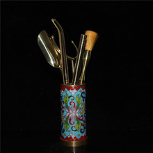 Chinese old Beijing old goods collection old Copper Cloisonne A set of accessories for Chinese Gung Fu tea tools cheap MIAO YANG GONG YI CHINA Mascot