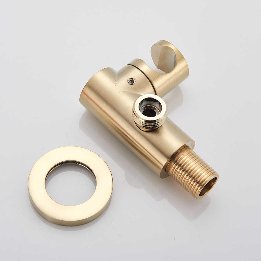 Fırçalanmış altın küvet musluk duvara monte banyo küveti musluk bataryası döndür bacalı plastik el duşu başlığı