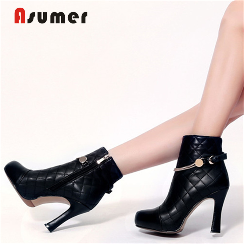 ASUMER Autumn Shoes Ankle-Boots High-Heels Zipper Genuine-Cow-Leather Fashion New Solid