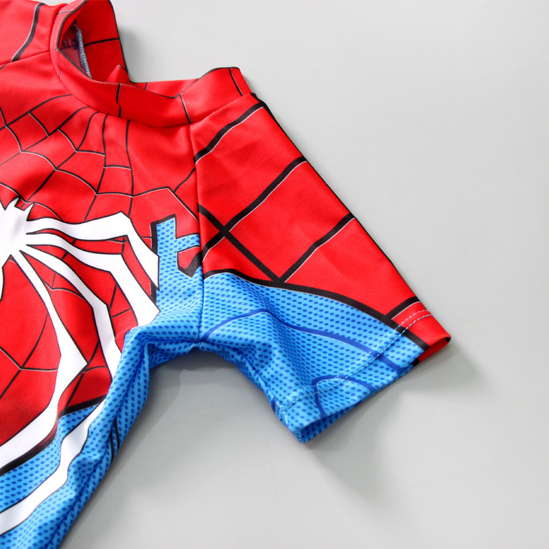 KID'S Swimwear BOY'S One-piece Split Type Sun-resistant Swimwear Big Boy Baby Cartoon Spider-Man Tour Bathing Suit