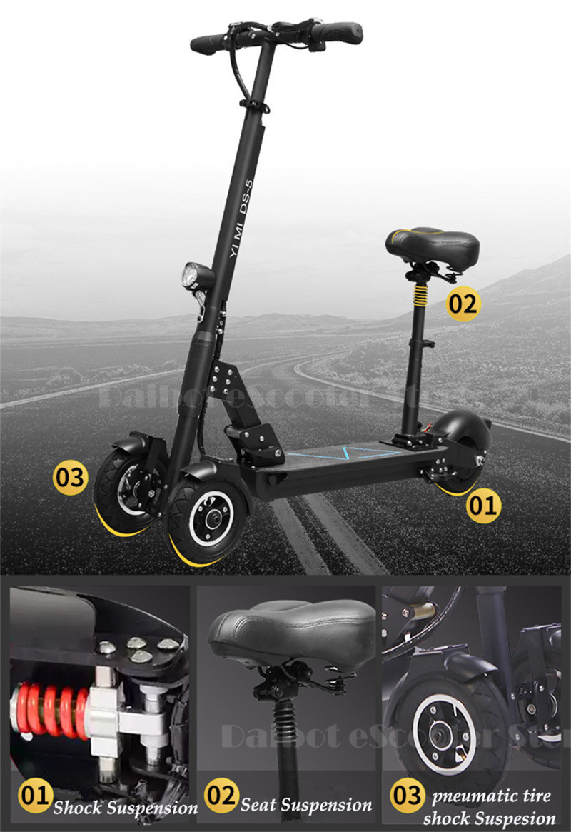 Daibot 3 Wheel Electric Scooter With Seat Electric Scooters 8 inch 400W 36V500W 48V Folding Electric Skateboard For Adults (10)