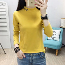 YUANYU Slim Casual Embroidered Basic All Match Korea Long Sleeve Turtleneck Female Women knitting T-shirts