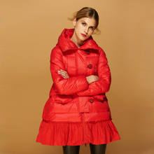Coat Women Fashion Winter Red Duck Down Woman Hooded Long A-Line Coats Female Jacket Parkas Mujer 2020 KJ702(China)