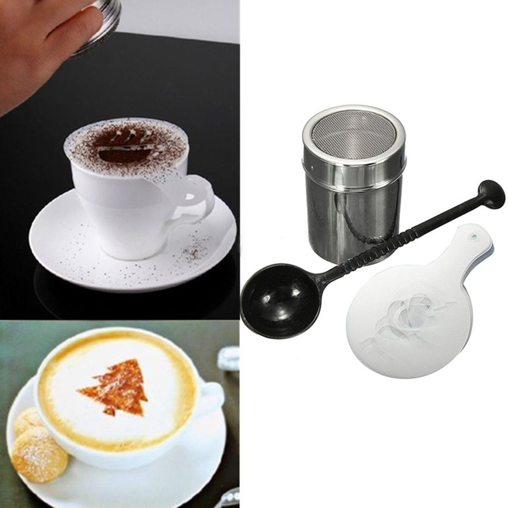 16Pcs Plastic Coffee Stencils Cappuccino Template Strew Pad Measure Spoon Chocolate Shaker Duster DIY Coffee Accessories