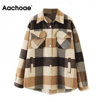 Aachoae – Veste en laine ample et décontractée à carreaux pour femme, col rabattu, moderne, manteau d'automne avec poche, manches longues, de différentes couleurs 1