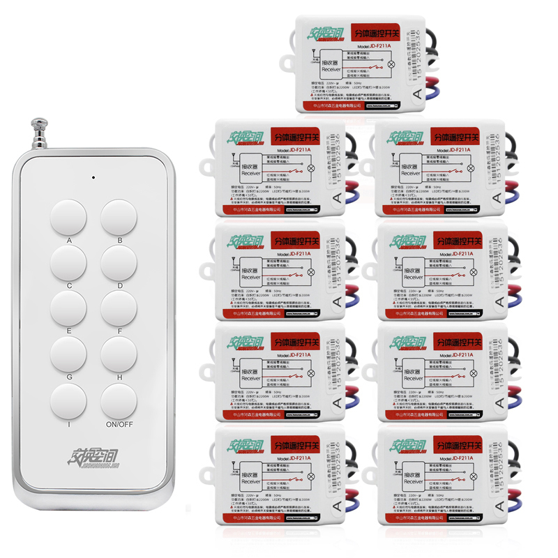 JD211A1N9 With 9 Receivers 9 channel RF Wireless Remote Control Light Switches 220V&110V