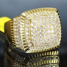 Male Luxury Gold Zircon Rings for Motorcycle Party Hip Hop Iced Out Bling Bling Rings White Rhinestone Rings Party Jewelry