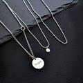 Herkunft Sommer Elegante Hoffnung Brief Porträt Münze Halskette Perlen Kette Multi Schichtung Colliers Halsketten für Frauen Mode Schmuck