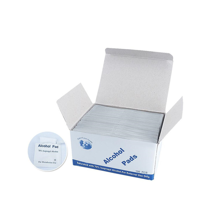 Portable 100PCS Alcohol Swabs Pads Wet Wipes 70% Isopropyl First Aid Home Skin Cleanser Jewelry Mobile Phone Sterilization