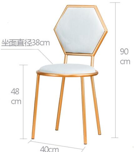 Chaise de salle à manger nordique en fer forgé chaise de salon chaise de loisirs