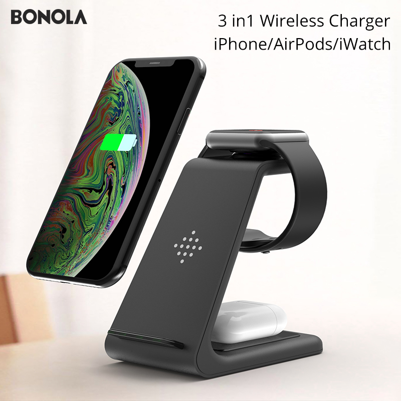 Bonola 3 in1 Wireless Charger For iPhone 11/Xs AirPods Apple Watch 23 Wireless Charging Stand for iWatch iPhone 11Pro/Xr/Xs Max(China)