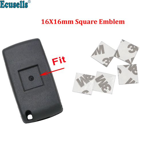 5 шт./лот 16x16 мм корпус автомобильного ключа квадратная эмблема символ наклейка логотип для Peugeot 206 207 307 308 Citroen C2 C3 дистанционные ключи для автомобиля